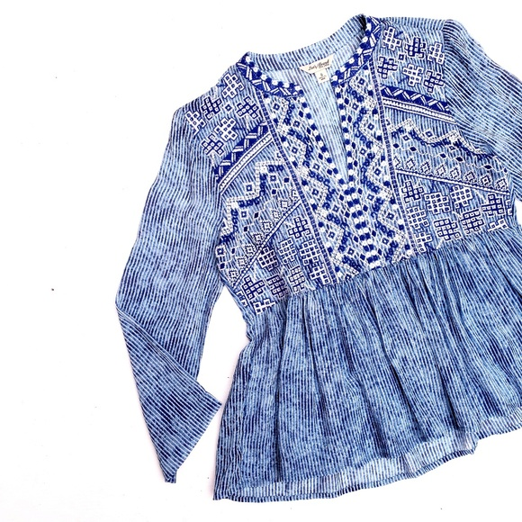 Lucky Brand Tops - Lucky Brand Blue White Embroidered Striped Top